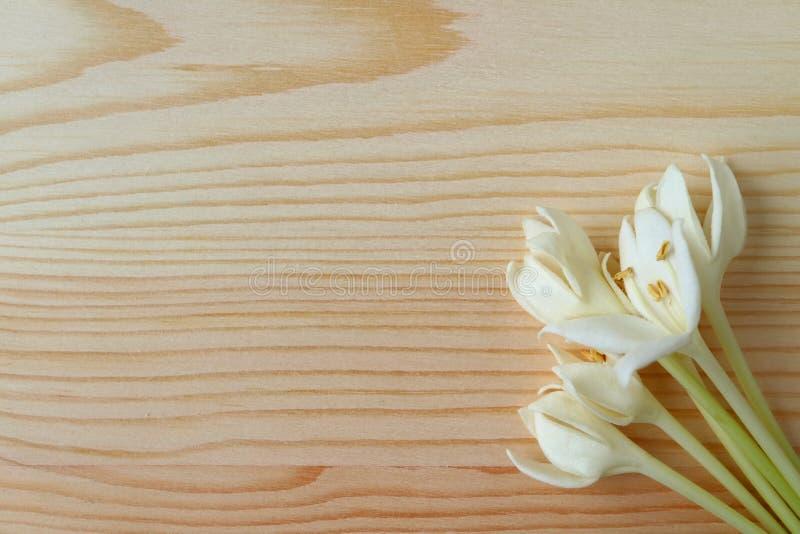 La vue supérieure d'un groupe de Millingtonia blanc pur fleurit sur la table en bois brun clair, avec l'espace libre photos libres de droits