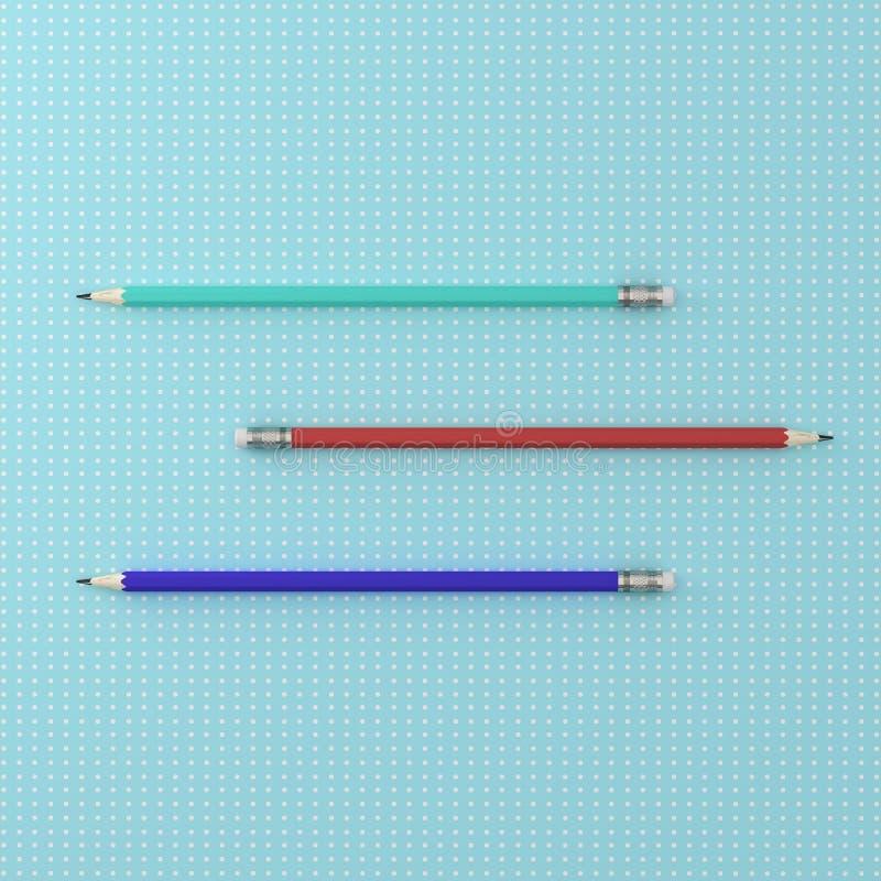 La vue supérieure de la collection de trois crayons colorent horizontal sur le poin photos stock