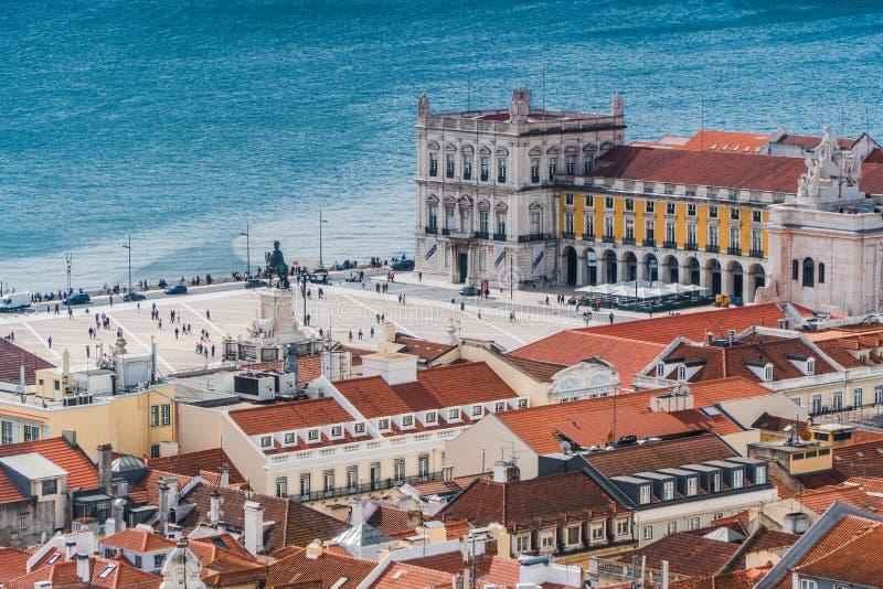 La vue supérieure de Praça font Comércio - Lisbonne photos libres de droits