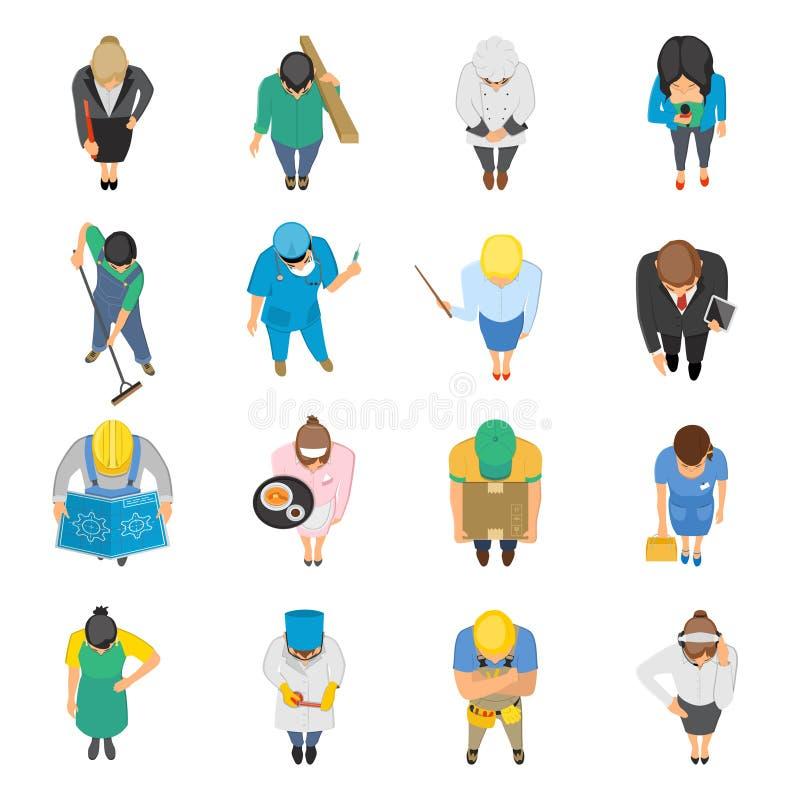 La vue supérieure de professions a coloré des icônes réglées illustration de vecteur
