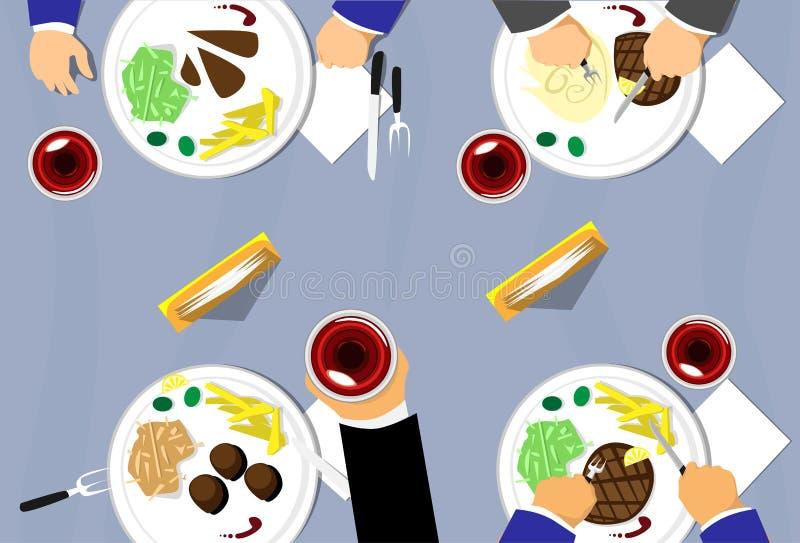 La vue supérieure de Tableau de restaurant, groupe de personnes mangeant, plaque le verre de vin illustration stock