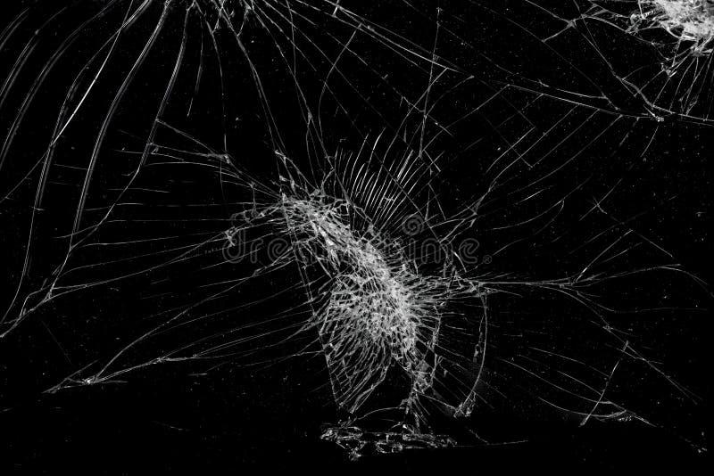 La vue supérieure a fendu le fond en verre de texture d'écran mobile cassé image stock