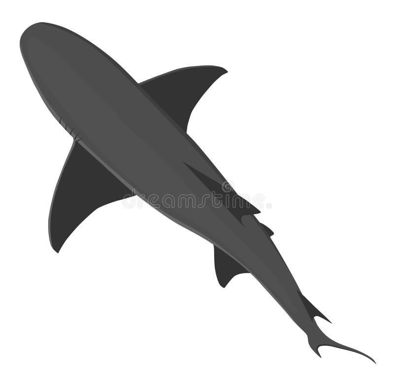 La vue supérieure isoalted dessus sur le requin sauvage blanc de couleurs grises Animaux de vecteur de la mer ou de l'océan illustration libre de droits
