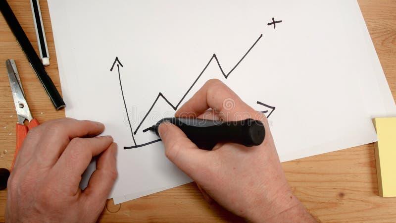 La vue supérieure, la main d'un homme d'affaires trace un graphique qui entre dans la valeur positive, idéal de longueur pour des images libres de droits
