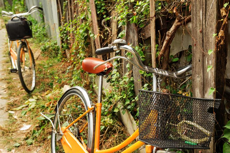 La vue sur l'orange va à vélo près à la vieille barrière en bois cassée avec l'usine bouclée image libre de droits