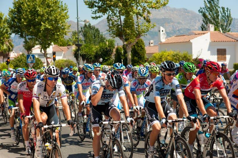 La Vuelta. La Nucía, Alicante, Spain, August 21 2001: Start of stage 2 of La Vuelta. With its 3.300 km in three weeks, La Vuelta is one of the biggest road stock photo