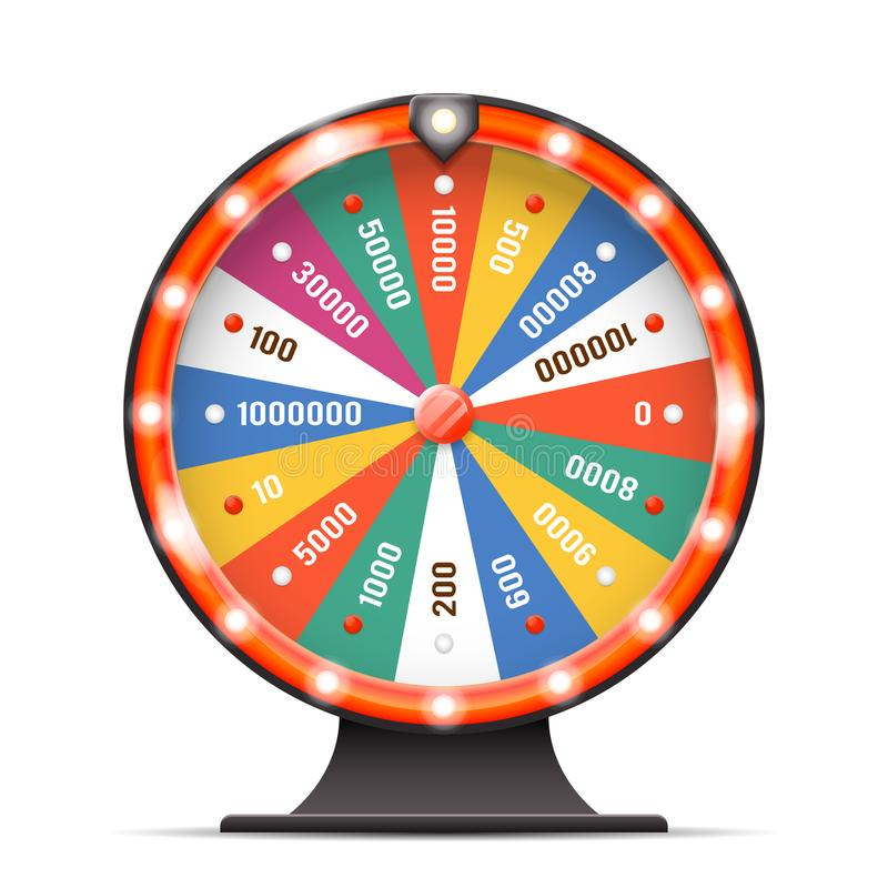 La vuelta de torneado de la lotería de la vuelta de la rueda de la fortuna de la suerte del casino prise el ejemplo aislado 3d ac stock de ilustración