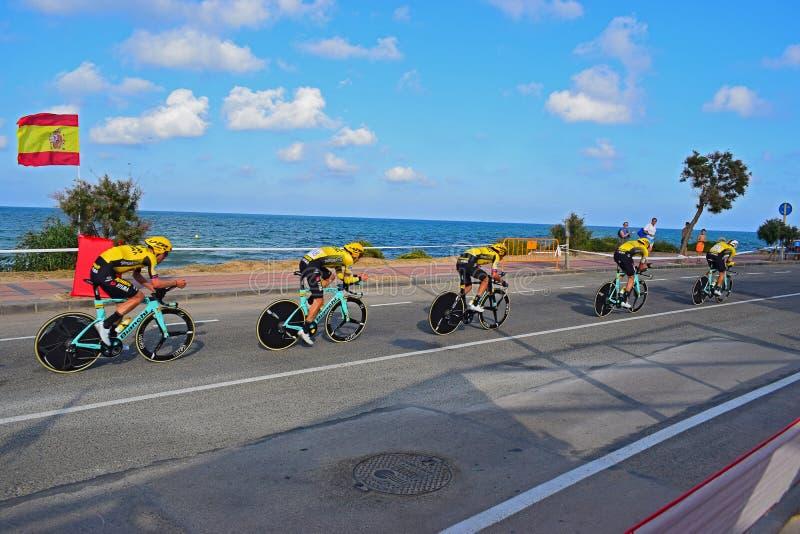 La Vuelta España 2019 Team Jumbo Visma. Cycling, tony, martin, spanish, flag, torrevieja, stage, etapa, one, first, time, trial, race stock photo