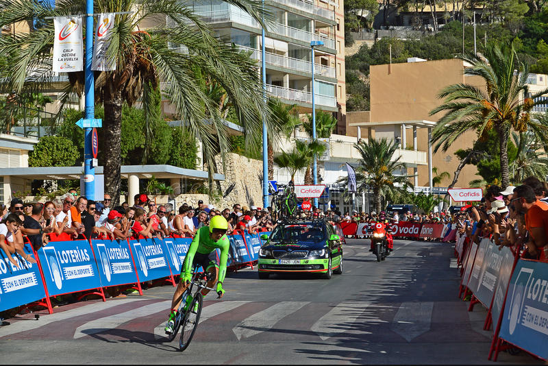 La Vuelta Espana 2016 Cannondale Drapac. The rider followed by his team car near the end of the TT time trial stage in the 2016 La Vuelta España in Calpe stock photo