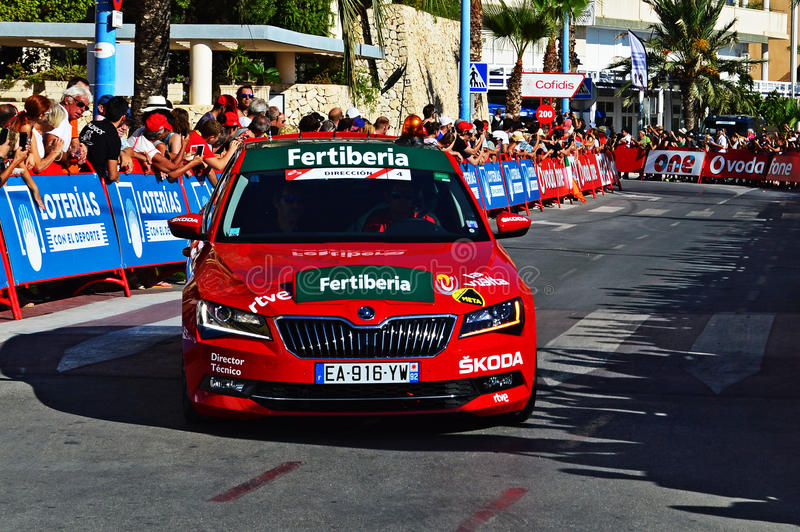 La Vuelta Espana 2016 Skoda Directors Car. The official car car near the end of the TT time trial stage in the 2016 La Vuelta España in Calpe Spain stock image