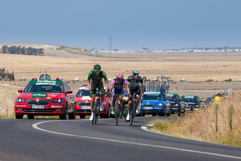 La Vuelta - Spain. Stage 5 in Cadiz Province 26th August 2015. Breakaway group of Iljo Keisse (Etixx-Quick Step) , Antoine Duchesne (Europcar) and Tsgabu Grmay ( stock photos
