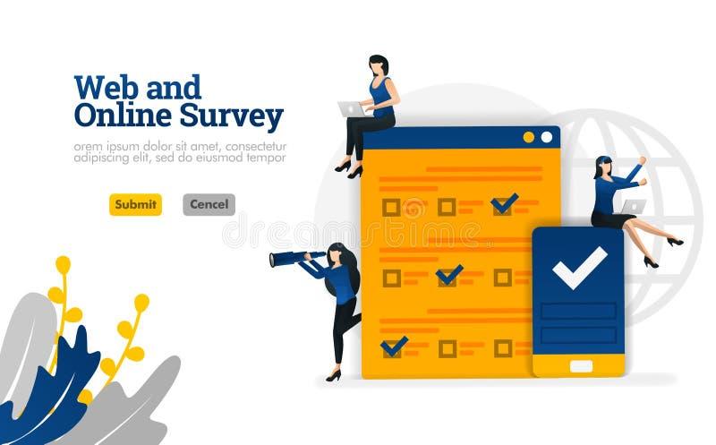 La web y la encuesta en línea para comercializar, la publicidad y el concepto del ejemplo del vector de los consultores pueden se libre illustration