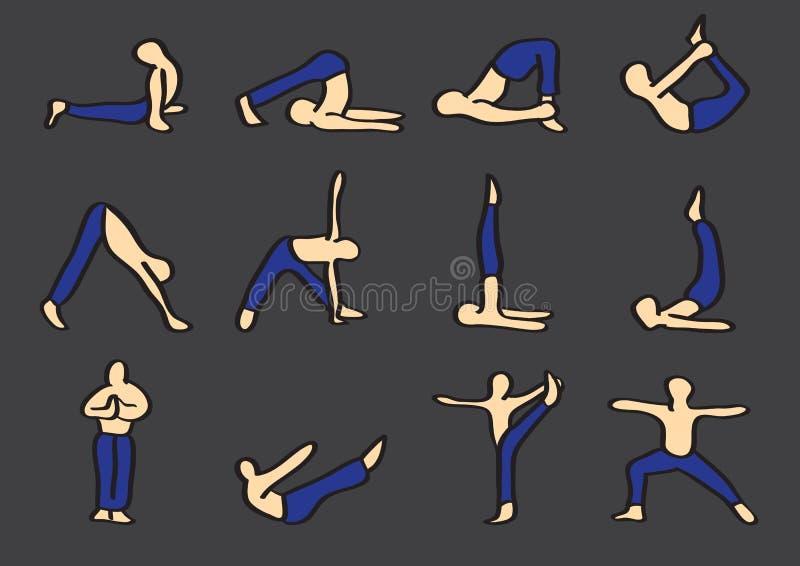 La yoga de Hatha plantea el sistema del icono del vector de la historieta ilustración del vector