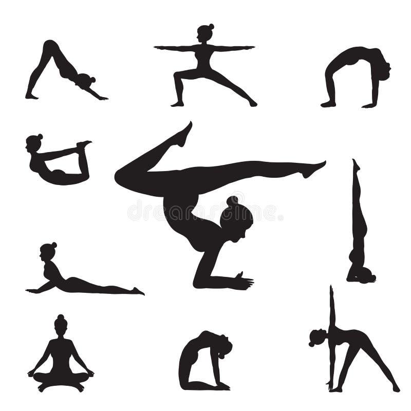 La yoga de las mujeres presenta siluetas ilustración del vector