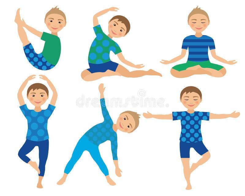 La yoga de los niños plantea el ejemplo del vector Niño que hace ejercicios Postura para el niño Forma de vida sana de los niños  imagenes de archivo