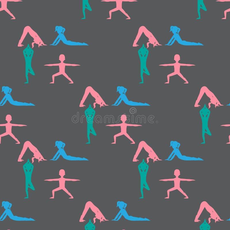La yoga embroma el modelo inconsútil Gimnasia para los niños y la forma de vida sana Ejercicios de la yoga Clase de la yoga, cent stock de ilustración
