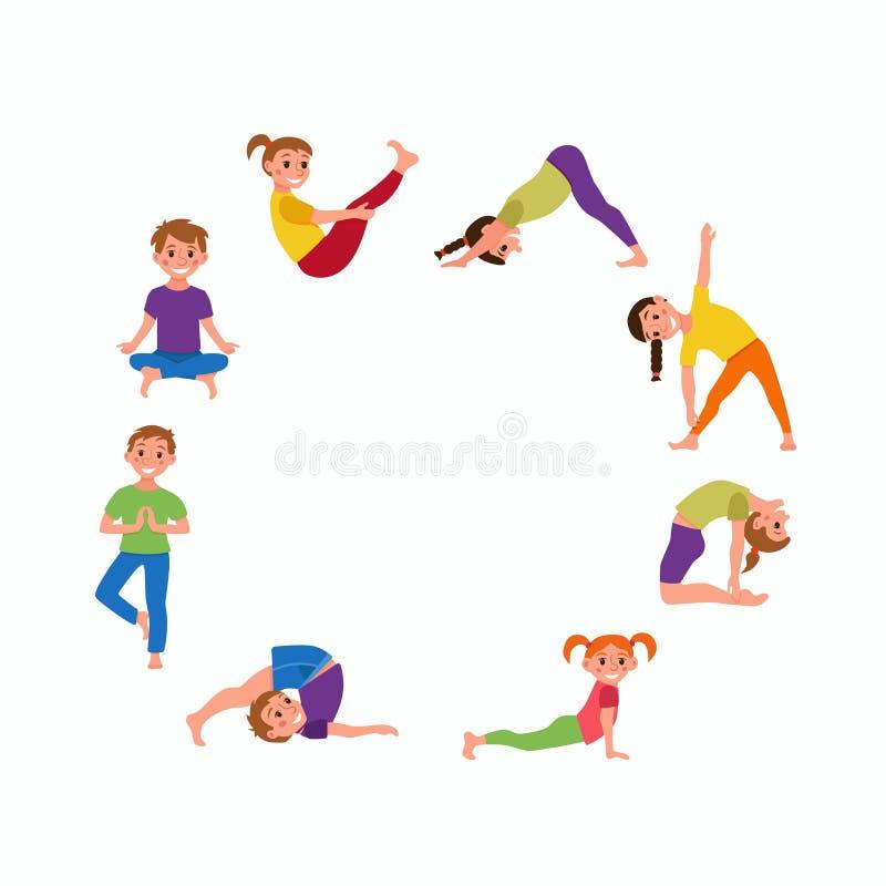 La yoga embroma las actitudes fijadas stock de ilustración
