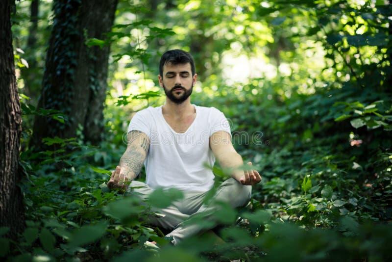 La yoga en naturaleza es excelente Hombres jovenes imágenes de archivo libres de regalías