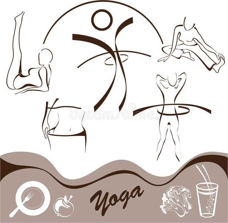 La yoga, fijó el icono, vector de las insignias stock de ilustración