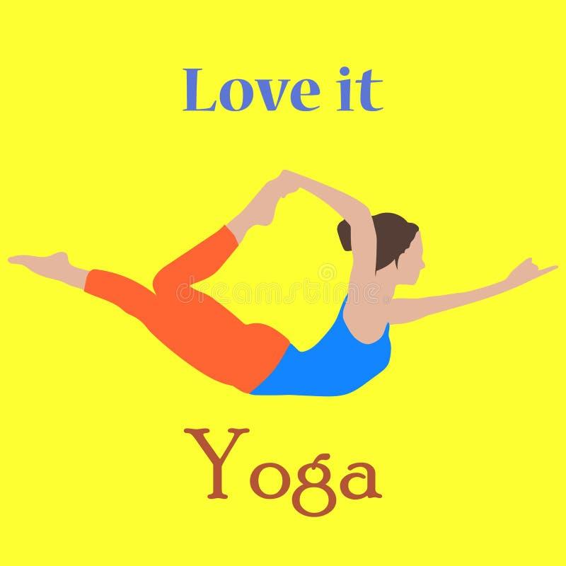 La yoga a mano del vector presenta con una mujer joven serena hermosa en diversas posiciones de equilibrio del rezo y de la medit libre illustration