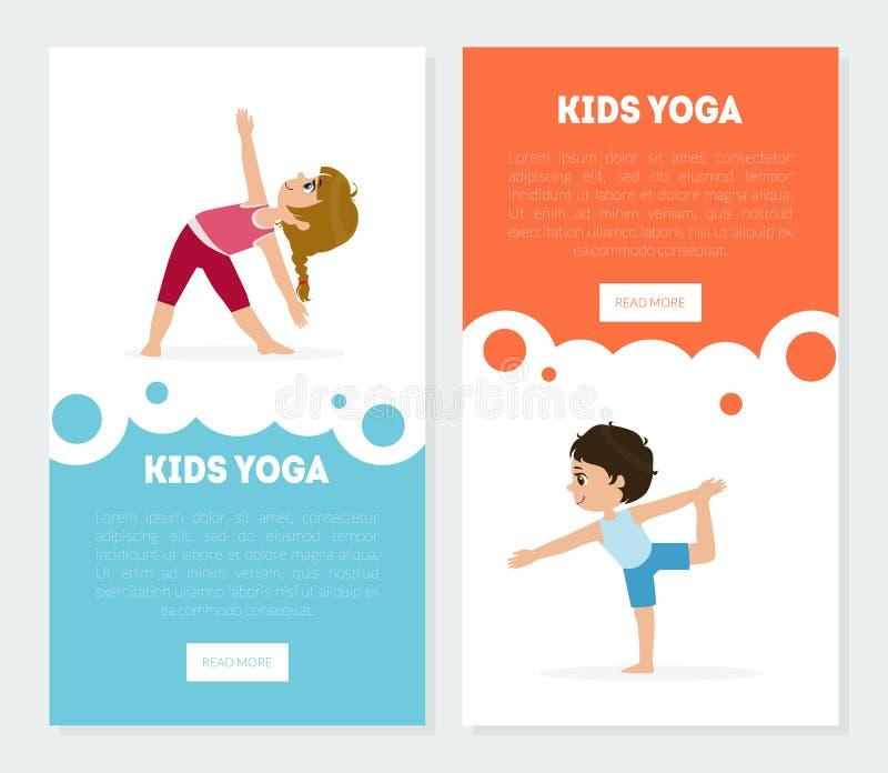 La yoga para las plantillas de las banderas de los niños fijó, los niños que practicaban las actitudes de Asana, clases de la yog ilustración del vector