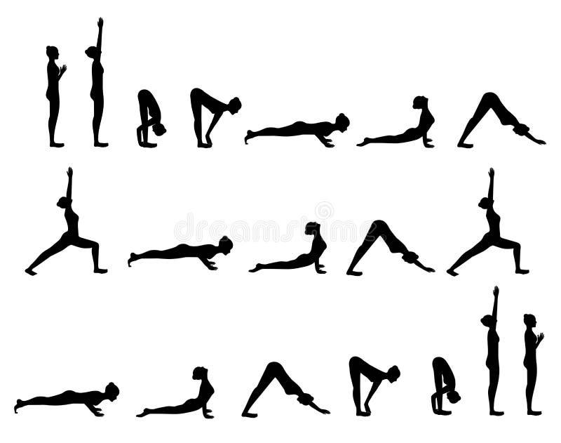 La yoga postures el saludo de Sun ilustración del vector