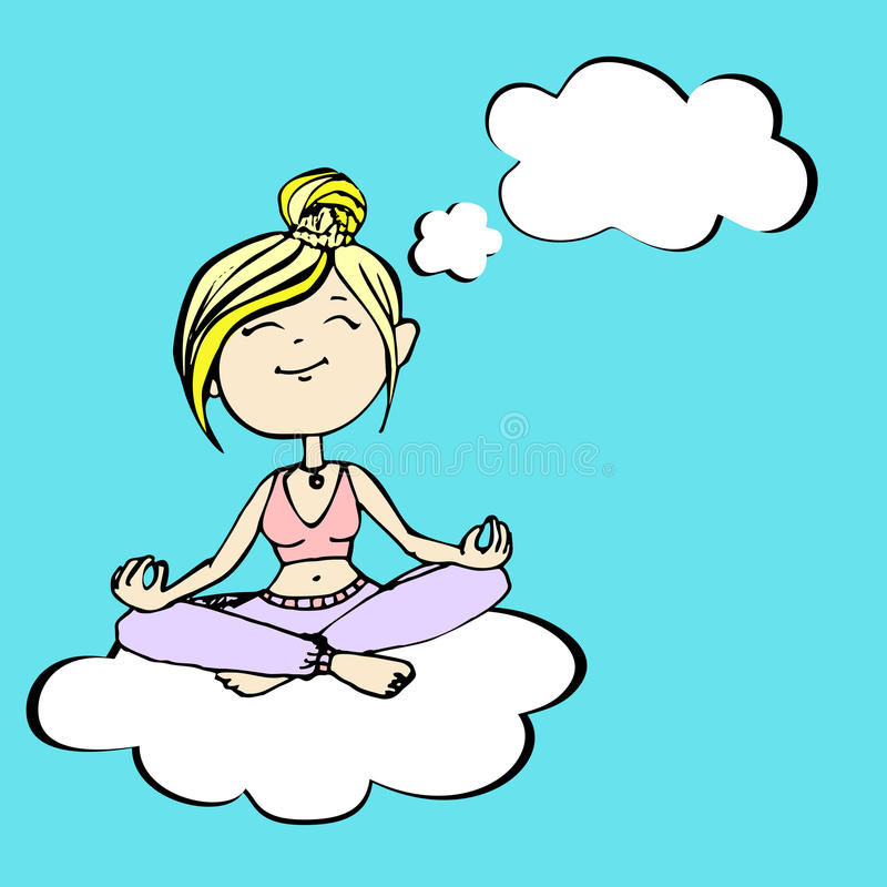 La yogui piensa a una muchacha que se sienta en una nube ilustración del vector