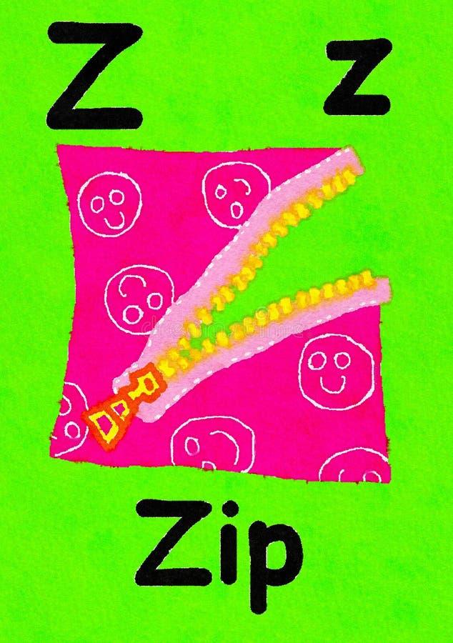 La Z è per lo zip Impari l'alfabeto e l'ortografia illustrazione di stock