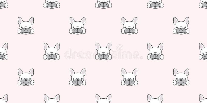 La zampa senza cuciture dell'osso del modello di vettore del bulldog francese del cane ha isolato il rosa del fondo della carta d royalty illustrazione gratis