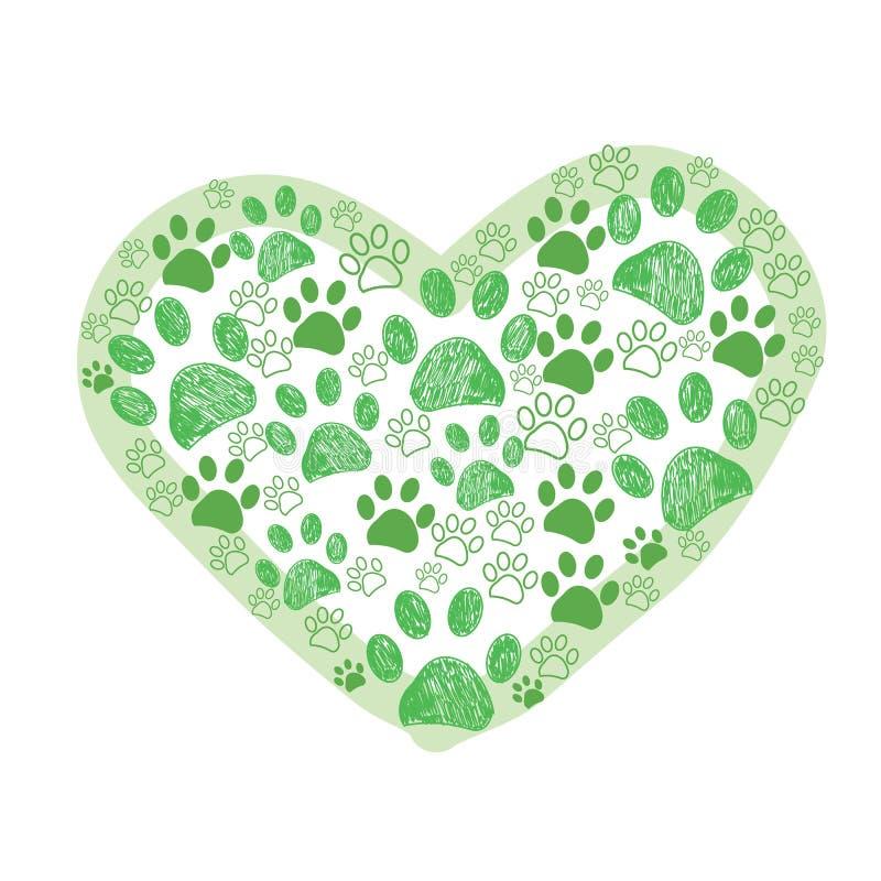 La zampa verde del cane fatta dei cuori vector l'illustrazione illustrazione vettoriale