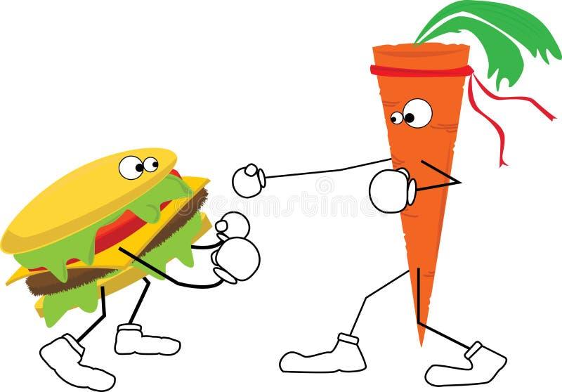 La zanahoria lucha la hamburguesa ilustración del vector