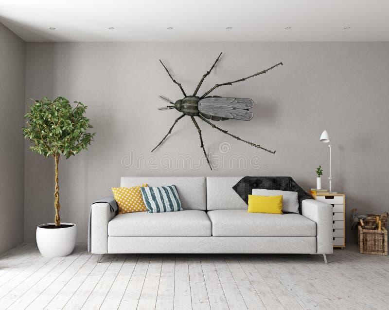 La zanzara sulla parete nella stanza illustrazione di stock
