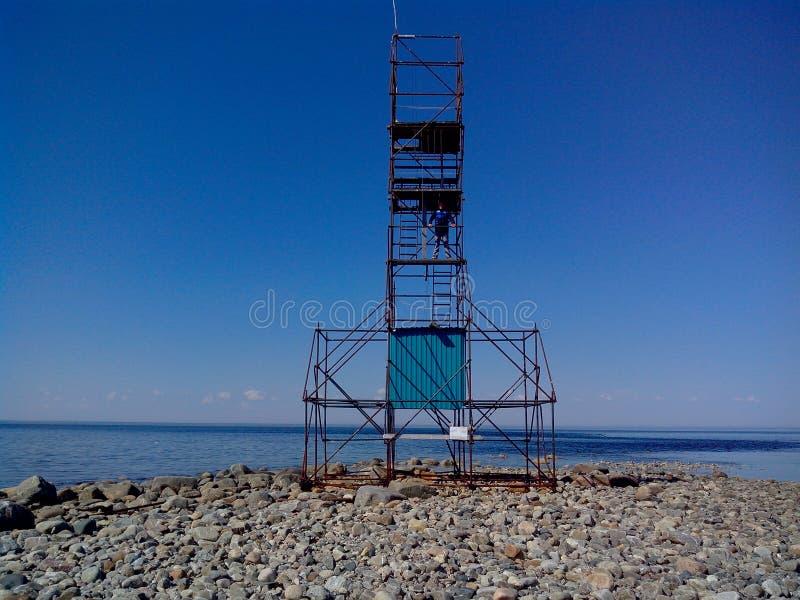 La zona costiera del mar Bianco al beluga del capo, blagami di sorveglianza della torre, isole di Solovetsky, oblast di Arcangelo fotografie stock