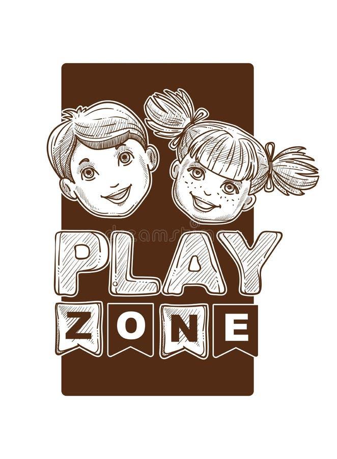 La zona del juego para los niños, niños bosqueja la bandera, logotipo libre illustration