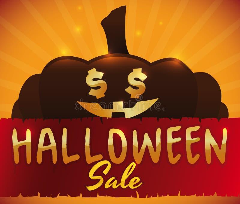 La zucca con soldi osserva per la vendita speciale di Halloween, illustrazione di vettore illustrazione vettoriale