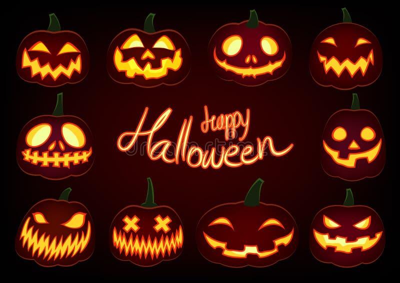 La zucca felice di Halloween, lanterna della presa o di incandescenza ha messo su fondo scuro royalty illustrazione gratis