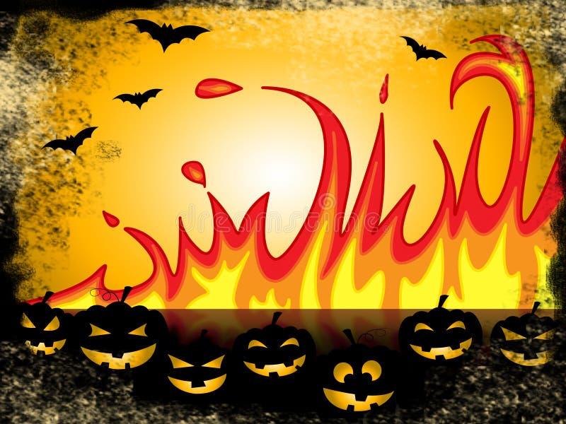 La zucca Halloween rappresenta lo scherzetto o dolcetto e la fiammata illustrazione vettoriale