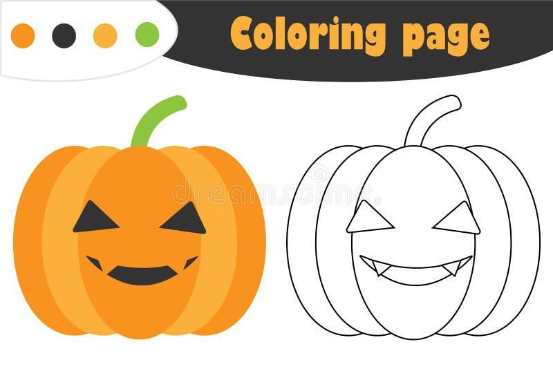 La zucca nello stile del fumetto, pagina di coloritura di Halloween, gioco di carta di istruzione per lo sviluppo dei bambini, sc royalty illustrazione gratis