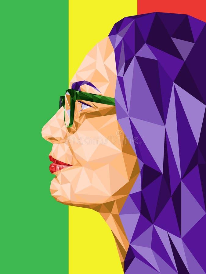 Laag poly abstract portret in profiel van een vrouw die glazen dragen Op een achtergrond van drie kleuren: rood, groen, geel Vect vector illustratie
