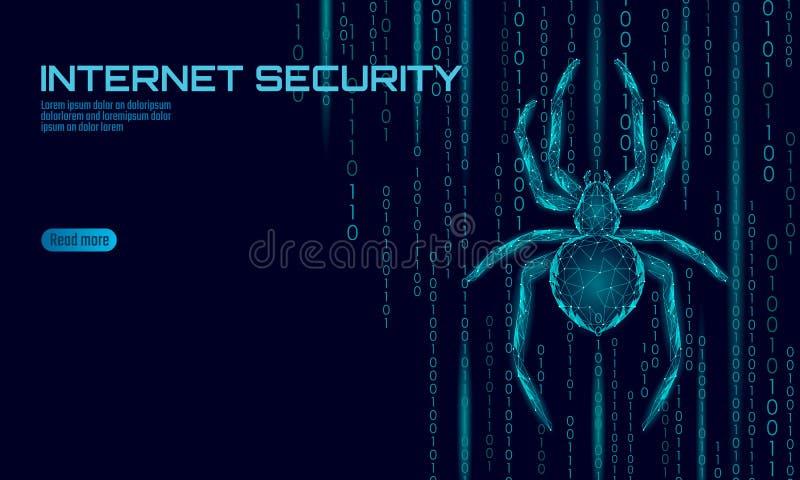 Laag poly de aanvalsgevaar van de spinhakker Van het virusgegevens van de Webveiligheid de veiligheidsantivirus concept Veelhoeki royalty-vrije illustratie