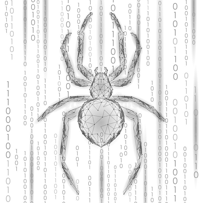 Laag poly de aanvalsgevaar van de spinhakker Van het virusgegevens van de Webveiligheid de veiligheidsantivirus concept Veelhoeki vector illustratie