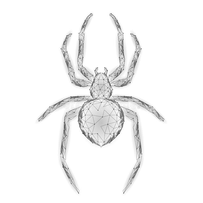 Laag poly de aanvalsgevaar van de spinhakker Van het virusgegevens van de Webveiligheid de veiligheidsantivirus concept Veelhoeki stock illustratie