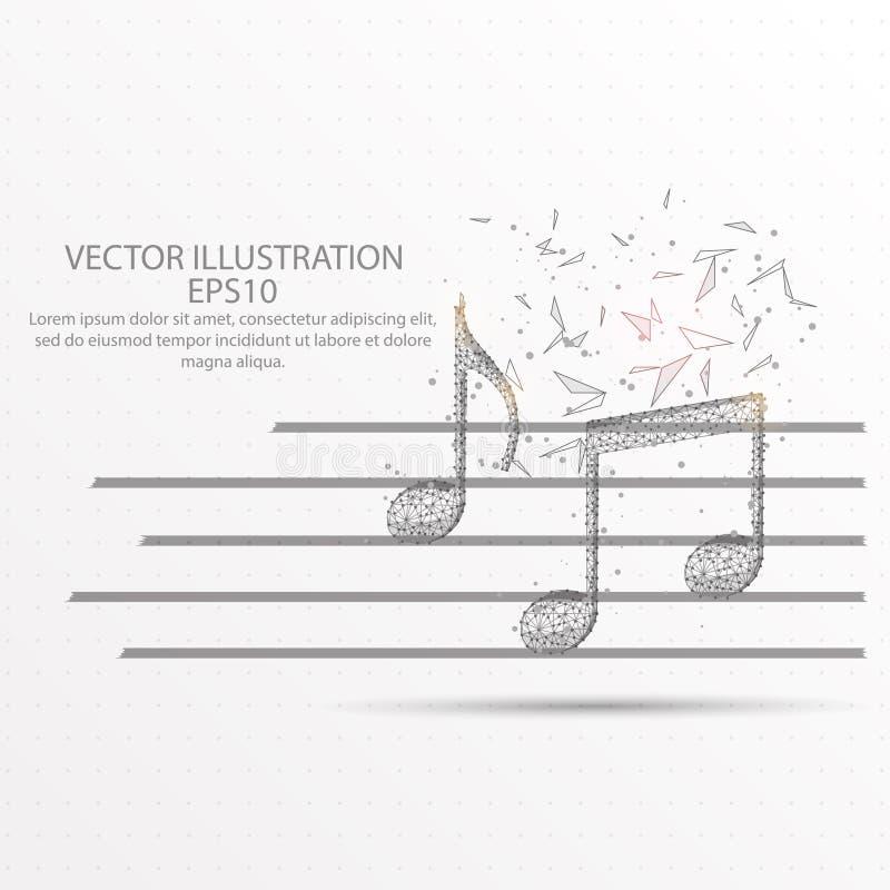 Laag poly de draadkader van de muzieknota op witte achtergrond stock illustratie