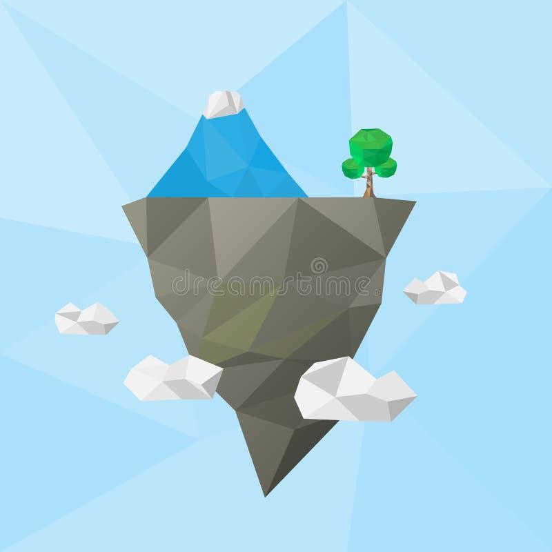 Laag poly drijvend eiland in de lucht met ijsberg vector illustratie