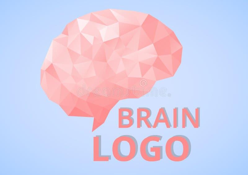 Laag poly geometrisch Brain Logo royalty-vrije illustratie