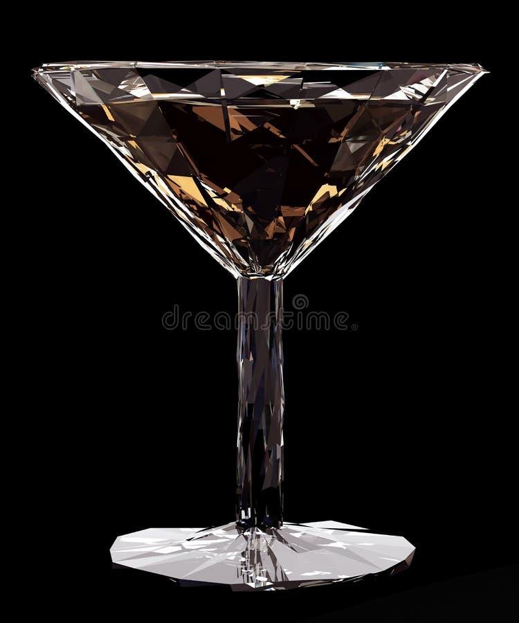 Laag polyglas van vermouth of cocktail op zwarte achtergrond stock illustratie