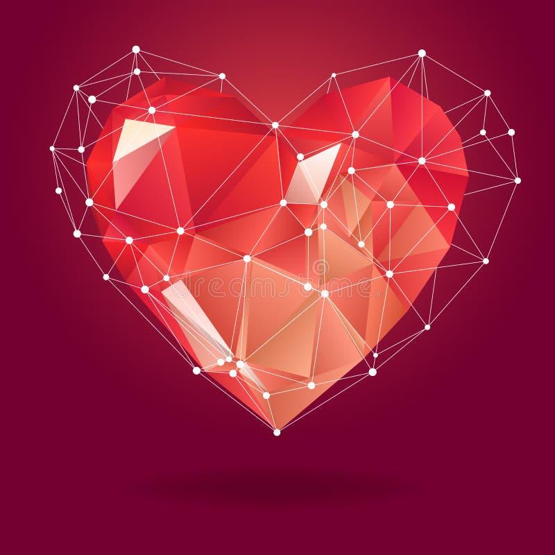 Laag polyhart met witte moleculestructuur Vector illustratie Abstract Veelhoekig Hart Het symbool van de liefde vector illustratie