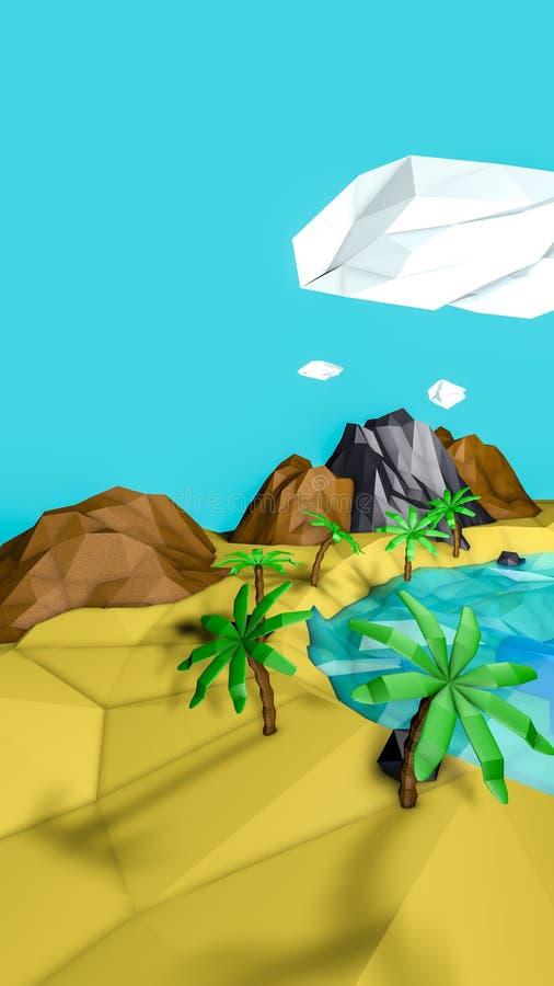 Laag polywoestijnlandschap met palmen 3d geef terug vector illustratie