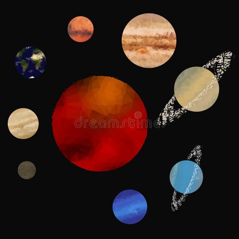 Laag polyzonnestelsel vector illustratie
