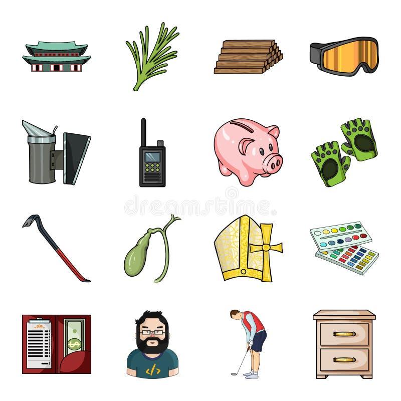 Laag, rook, imkerij en ander Webpictogram in beeldverhaalstijl stok, borst, ladenpictogrammen in vastgestelde inzameling vector illustratie